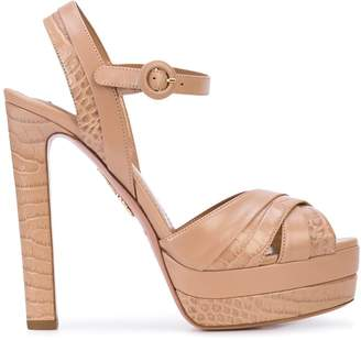 Aquazzura crocodile-effect platform sandals