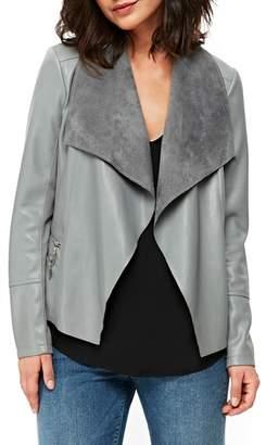 Wallis Double Zip Faux Leather Waterfall Jacket