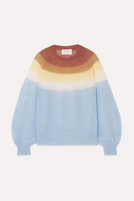 MUNTHE - Dinner Striped Knitted Sweater - Light blue