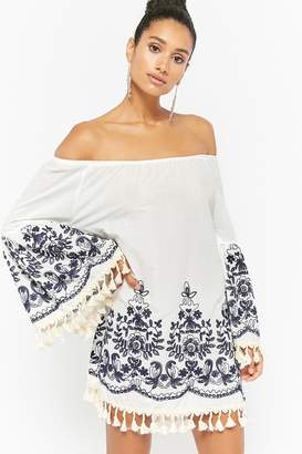 Forever 21 Embroidered Off-the-Shoulder Tunic