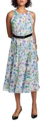 Tommy Hilfiger Pansy Fields Belted Chiffon Midi Dress