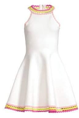 Milly Women's Diamond-Cut Flare Dress - White Multi - Size XS