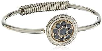 clear 1928 Jewelry Silver-Tone and Crystal Spring Hinge Cuff Bracelet