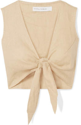 Faithfull The Brand Marcie Cropped Tie-front Linen Top - Beige
