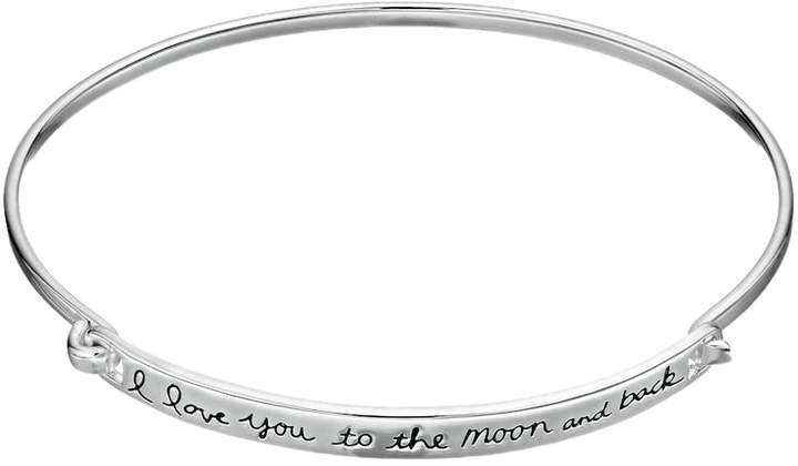 """Timeless Sterling Silver """"I Love You to the Moon and Back"""" Bangle Bracelet"""