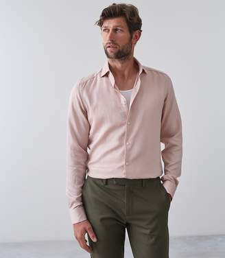 Reiss JACKSON Linen Blend Shirt Soft Pink