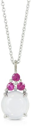 Mia & Beverly Chalcedony and Pink Sapphires 18K White Gold Pendant Necklace