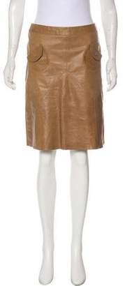 Max Mara Weekend Leather Knee-Length Skirt