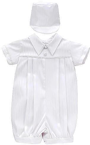 Haddad Boys Christening Romper & Matching Hat - White