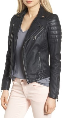 Women's Goosecraft Dual Zip Leather Biker Jacket $299 thestylecure.com