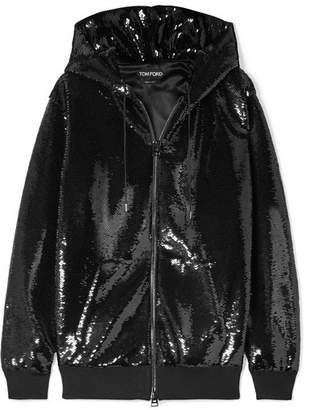 Tom Ford Sequined Satin Hoodie - Black