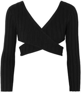 MARIEYAT - Ronan Cutout Ribbed Merino Wool-blend Top - Black