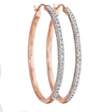 JCPenney FINE JEWELRY CT. T.W. Diamond 14K Rose Gold Over Sterling Silver Hoop Earrings