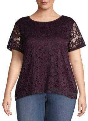 Calvin Klein Plus Lace Short-Sleeve Top