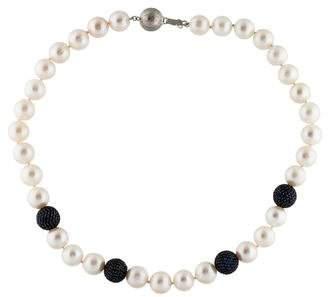 14K Pearl & Sapphire Pavé Bead Strand