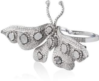 Saqqara 18k white gold and diamond butterfly double ring
