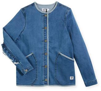 Molo Hannie Denim Jacket w/ Ruffle Sleeves, Size 4-14