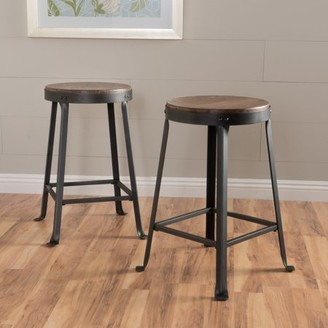 Noble House Emmett Brown Weathered Wood Counter Stool (Set of 2)