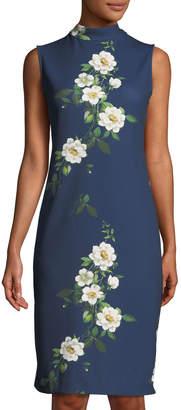 Neiman Marcus Mock-Neck Floral Sheath Dress