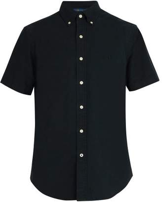 Polo Ralph Lauren Logo Embroidered Short Sleeved Cotton Shirt - Mens - Black