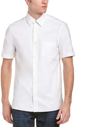 Burberry Check Detail Short Sleeved Cotton Oxford Shirt