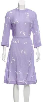 Mansur Gavriel Floral Print Midi Dress