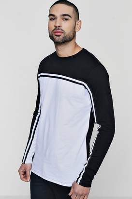 boohoo Long Sleeve Colour Block T-Shirt With Taping