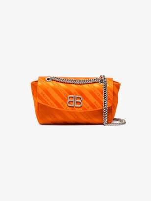 Balenciaga Orange Palladium Small Satin Shoulder Bag