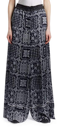 Sacai Turtleneck Wool Sweater with Bandana-Print Pleated Back and Matching Items