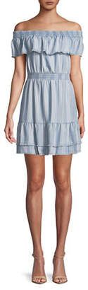 BB Dakota Striped Off-The-Shoulder Denim Dress
