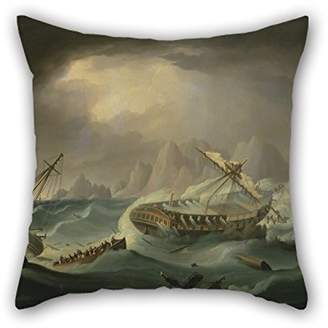 Thomas Laboratories Uloveme Oil Painting Buttersworth - Shipwreck Off A Rocky Coast Christmas Pillow Covers 18 X 18 Inches / 45 By 45 Cm For Relatives Festival Gf Teens Boys Couples Shop With Each Side