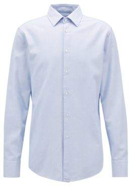 BOSS Hugo Slim-fit shirt in cotton three-dimensional structure 15 Light Blue