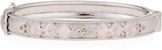 Jude Frances Moroccan Sterling Silver Hinge Bracelet with Rose Quartz, Size 6.5