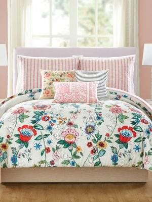 Vera Bradley Coral Floral Cotton Sateen Three-Piece Comforter Set