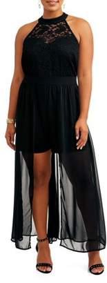 Love Squared Women's Plus Size Lace Overlay Romper Maxi