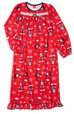 AME Sleepwear Little Girl's & Girl's Printed Lace-Trimmed Nightgown