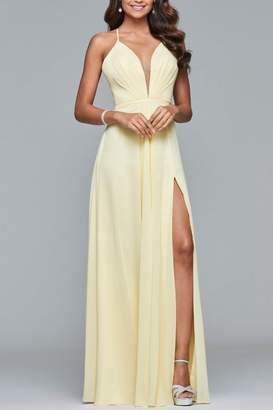 Faviana Chiffon V-Neck Dress