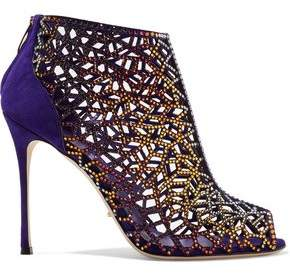 Sergio Rossi Royal Strass Mexico Crystal-Embellished Laser-Cut And Smooth Suede Ankle Boots