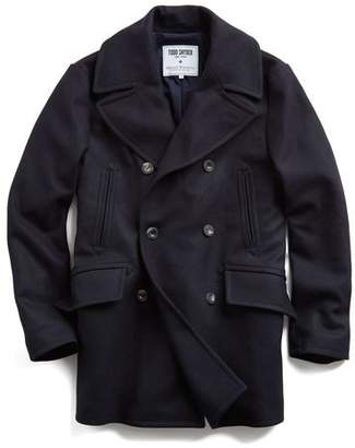Todd Snyder + Private White V.C. + Private White Manchester Wool Peacoat in Navy