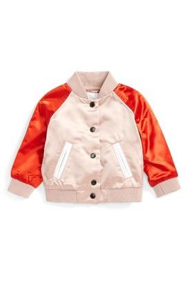 Infant Girl's Burberry Bartinstead Satin Bomber Jacket $375 thestylecure.com