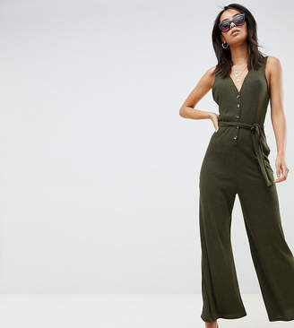 Asos Tall DESIGN Tall V neck jumpsuit with button front in slouchy rib