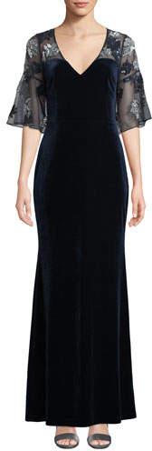 Aidan Mattox Sheer & Beaded Short-Sleeve Velvet Gown