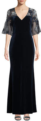 Aidan Mattox Sheer & Beaded Short-Sleeve Velvet Gown