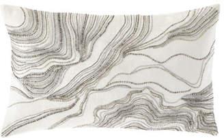 Callisto Home Silver Beaded Decorative Pillow