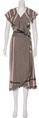 Cecilie Copenhagen Ruffle Midi Wrap Dress w/ Tags