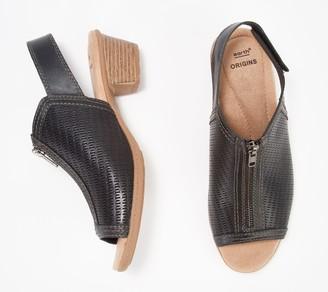 Earth Origins Leather Front Zip Heeled Sandals- Maureen