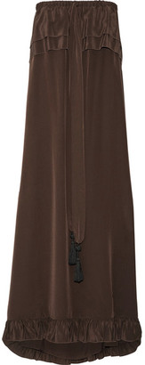 See by Chloé - Off-the-shoulder Ruffle-trimmed Silk Dress - Dark brown $575 thestylecure.com