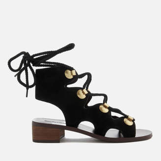 See by Chloe Women's Suede Lace Up Sandals - Black