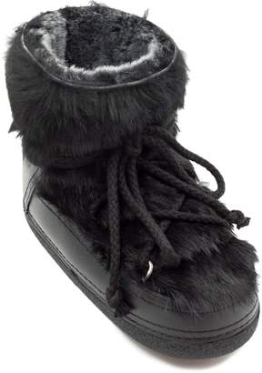 INUIKII Genuine Rabbit Fur & Leather Bootie