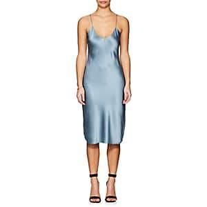 Nili Lotan Women's Silk Satin Slipdress - Washed Blue